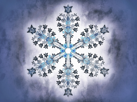 blizzards: Representation of a snowflake on a blue background, referring to concepts such as winter, seasonal weather, snow, as well as Christmas