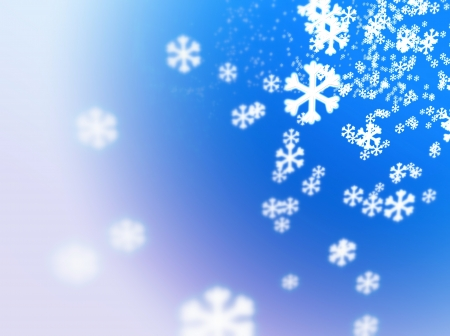 kelvin: Numerous falling snowflakes on a white-fading blue , referring to concepts concepts such as wintertime, snow, cold weather, meteorology, as well as Christmas and New Years Eve