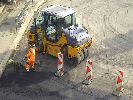building industry: Comics-style illustration of a construction worker wearing an orange uniform, working on a road under construction, in front of steamroller, referring to the concept of jobs in the building industry Stock Photo