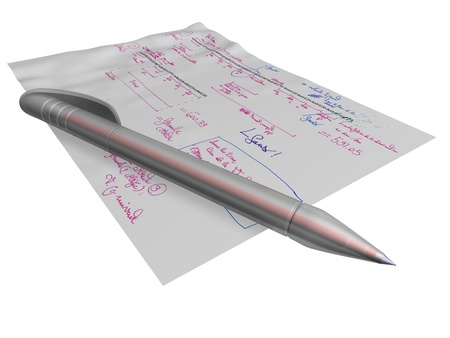 annotations: red ballpoint pen laying on a sheet of paper with some formulas and red and blue annotations, isolated on a white background, referring to concepts such as work, studies, and technical reflexions Stock Photo