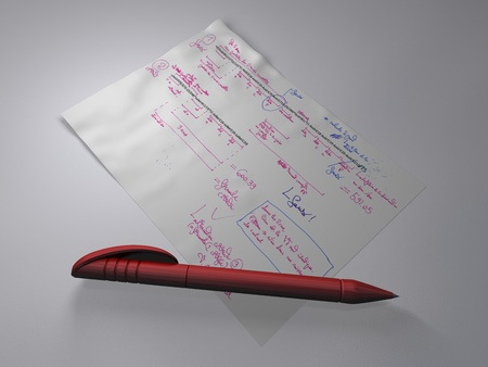 Red ballpoint pen on a document with formulas and annotations, laying on a grey surface in a low light environment