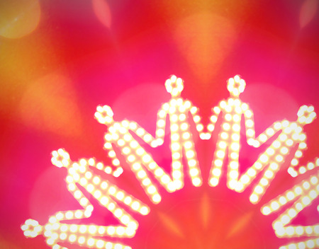 interpersonal: Front view of glowing iconic human silhouettes holding their hands to form a chain, referring to concepts such as solidarity, cohesion, teamwork, peace and mutual support Stock Photo
