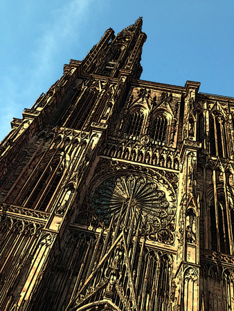 frontage: Illustrated front bottom-up view of the facade of the Cathedral of Our Lady in Strasbourg (Alsace, France)