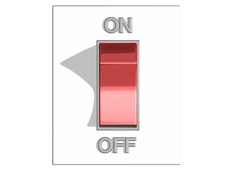 standby: Top view of a red on and off switch in off position, on a white background, referring to concepts such as turning off a device, a state of stand-by or inactivity, and the action of making a break