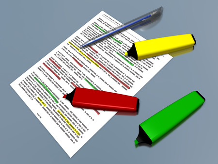 summarized: Yellow, red and green pen markers and a blue ballpoint pen laying on a sheet of paper with some printed text which is highlighted, referring to concepts such as sum up of a text, synthesis and work