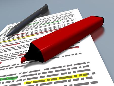 摘要: 用紅筆標記和藍色圓珠筆鋪設的一些文字被突出顯示紙張的特寫鏡頭,指的是概念,如教育,總結一文,合成和工作 版權商用圖片