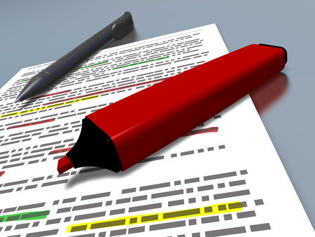 summary: closeup of a red pen marker and a blue ballpoint pen laying on a sheet of paper with some text which is highlighted, referring to concepts such as education, sum up of a text, synthesis and work