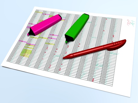 top view of pink and green pen markers with a red ballpoint pen laying on a big sheet of paper which contains a control grid with highlighted cells checking marks and other colored annotations