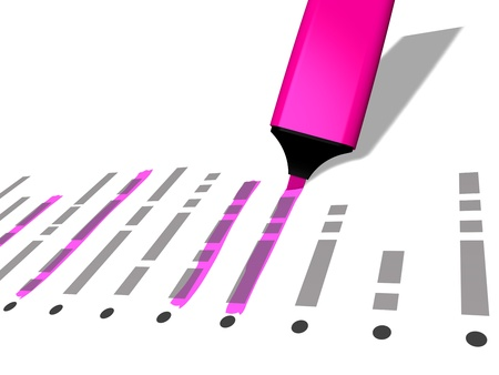 privileged: closeup of a pink pen marker used to highlight selected elements of a list referring to concepts such as choice selection check list identification organization as well as administrative work