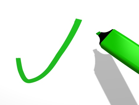 verification and validation: closeup of a green pen marker used to draw a validation mark on a white background referring to concepts such as decision correctness approval positive verification and filling a checklist