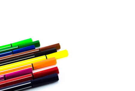fine tip: Colour pen isolated on white background Stock Photo