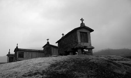 Black and white espigueiros in soajo
