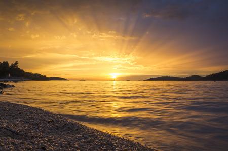 dalmatia: Sunset in Razanj Croatia Stock Photo