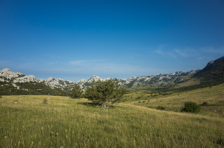 paklenica: Hiking in Paklenica Velebit Mountain in Croatia Europe. Beautiful nature and landscape. Summer day blue sky Stock Photo