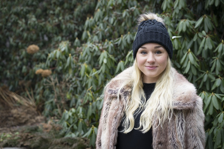 Beautiful Swedish blonde fashion woman with cap