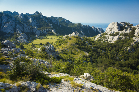 Paklenica Velebit Croatia. Beautiful nature and landscape photo of mountains in Dalmatia. Lovely warm summer day. Clam nice outdoors image. Joyful and happy picture.