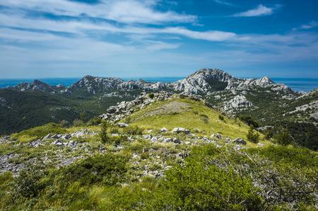 パクレニツァ ベレビト山地クロアチア ヨーロッパ。アドリア海の山の美しい自然と風景写真。素敵な暖かい夏の日。穏やかな、平和で幸せなイメー