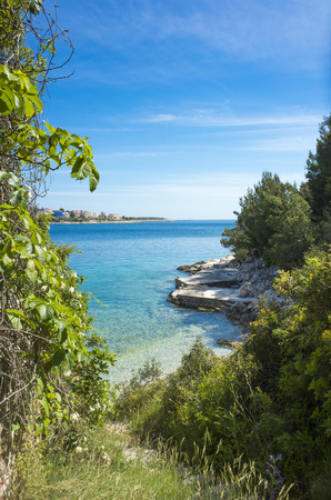 Razanj Croatia Europe. Beautiful nature and landscape photo. Nice warm sunny spring day at Adriatic Sea. Nice ocean and blue sky. Lovely outdoors in Dalmatia.