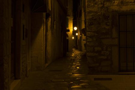 Trogir, Croatia - 2017-07-19, Beautiful old city at night. Editorial