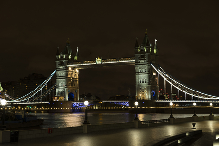 London Great Britain, October 11 2017, Tower Bridge at night, Nice details and architecture in United Kingdom