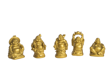 Small golden Buddha statues isolated on white background. Nice Buddhist religious art sculptures. Smiling, joyful and happy faces. Freedom symbols.