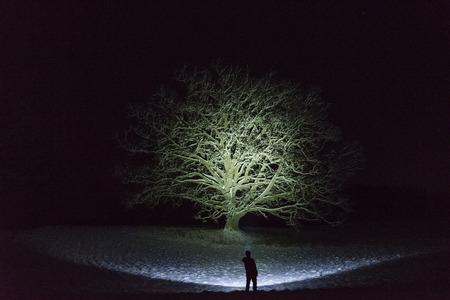 Mens die zich in openlucht bij nacht in de winterlandschap bevindt van Zweden Scandinavië dat met flitslicht bij hemel glanst. Mooie blauwe lichtstraal. Mooi, kalm en vredig abstract beeld. Stockfoto
