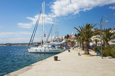 Rogoznica, Croatia, May 20 2018, Beautiful sunny spring day at Adriatic Sea, Nice outdoors of the popular tourist city with blue sky, sea and boats.