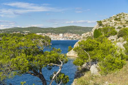 Sibenik, Croatia. Beautiful sunny day in Dalmatia, Nice outdoors and landscape photo of warm summer season at Adriatic Sea. Calm, peaceful and happy image.
