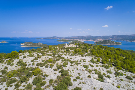 Beautiful aerial photo of Razanj in Dalmatia, Croatia, Europe. Nice nature and landscape on warm sunny summer day at Adriatic Sea and coast. Lovely seascape and outdoors shoot with drone from above.