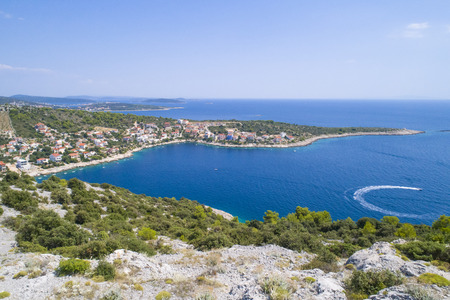 Beautiful aerial photo of Razanj in Dalmatia, Croatia, Europe. Nice nature and landscape on warm sunny summer day at Adriatic Sea and coast. Lovely seascape and outdoors shoot with drone from above. Reklamní fotografie