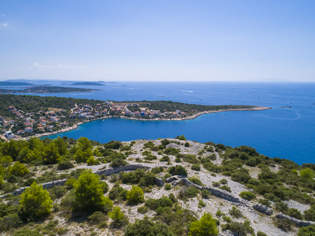 Beautiful aerial photo of Razanj in Dalmatia, Croatia, Europe. Nice nature and landscape on warm sunny summer day at Adriatic Sea and coast. Lovely seascape and outdoors shoot with drone from above. Stock Photo