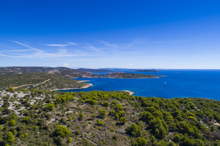 Beautiful aerial photo of Razanj in Dalmatia, Croatia, Europe. Nice nature and landscape on warm sunny summer day at Adriatic Sea and coast. Lovely seascape and outdoors shoot with drone from above. Stok Fotoğraf