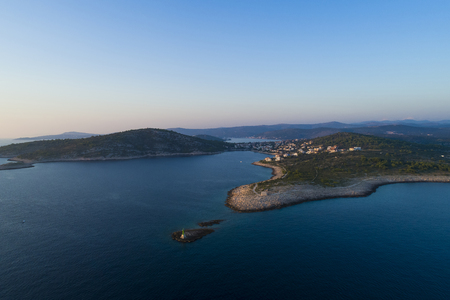 Beautiful aerial photo of Razanj in Dalmatia, Croatia, Europe. Nice nature and landscape at Adriatic Sea and coast. Lovely seascape and outdoors shoot with drone from above.