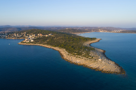 Beautiful aerial photo of Razanj in Dalmatia, Croatia, Europe. Nice nature and landscape at Adriatic Sea and coast. Lovely seascape and outdoors shoot with drone from above. Stok Fotoğraf - 110158889