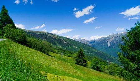 Alpen in de zomer in groene weiden. Kanton Tessin. Stockfoto