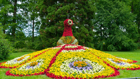 A colorful floral figure of a birds fire on the island of Mainau