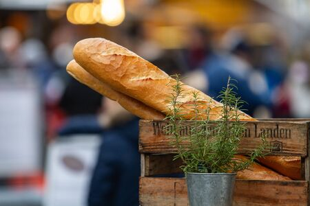two baguettes in a wooden box behind a flower pot with rosemary Reklamní fotografie