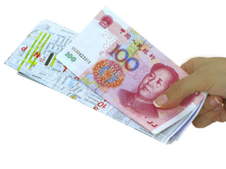 chinese map: Female hand with chinese map and chinese money  Stock Photo