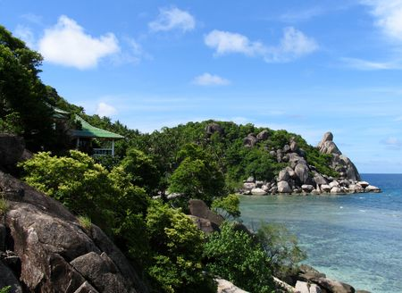bottomless: Beautiful home at the beach, Ko Thao Island, Thailand Stock Photo
