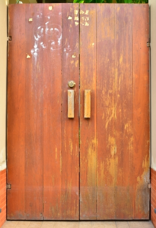 cachet: Square wood door with flood mark Stock Photo