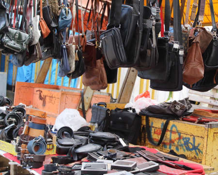Various leather goods at the flea market