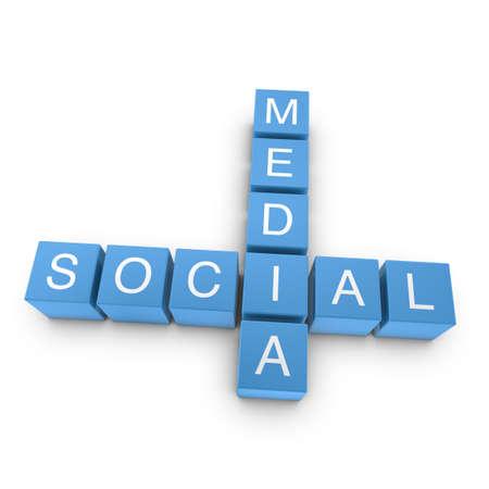 Social media crossword on white background, 3D rendered illustration Stock Illustration - 10253593