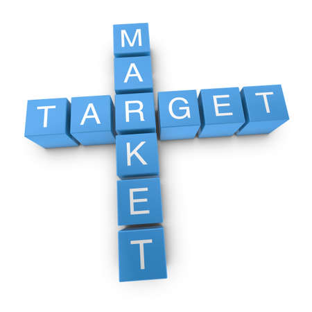 target market: Target market crossword on white background, 3D rendered illustration