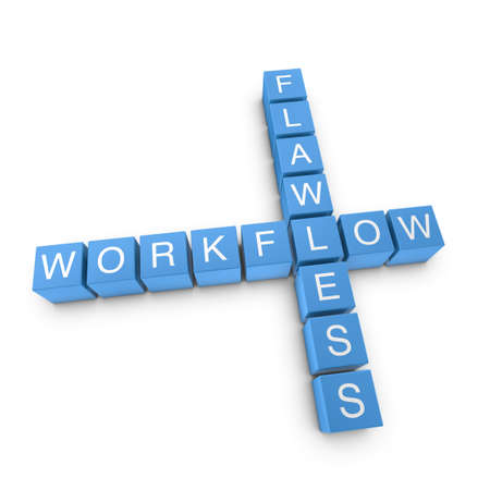 workflow: Flawless workflow crossword on white background, 3D rendered illustration Stock Photo