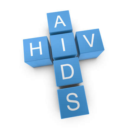 sensually: HIV and AIDS crossword on white background, 3D rendered illustration Stock Photo