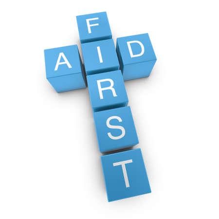 primeros auxilios: Crucigrama de primeros auxilios sobre fondo blanco, 3D prestados ilustraci�n Foto de archivo