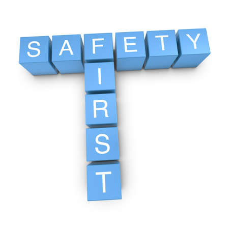 safety first: Safety first crossword on white background, 3D rendered illustration