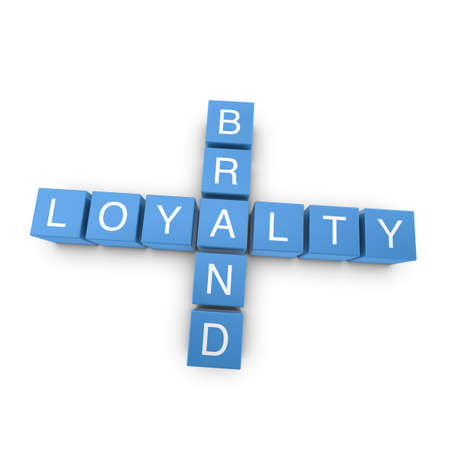 loyalty: Brand loyalty crossword on white background, 3D rendered illustration Stock Photo