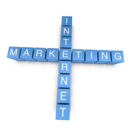 Internet marketing crossword on white background, 3D rendered illustration illustration