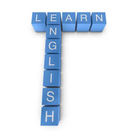 Learn english crossword on white background, 3D rendered illustration illustration